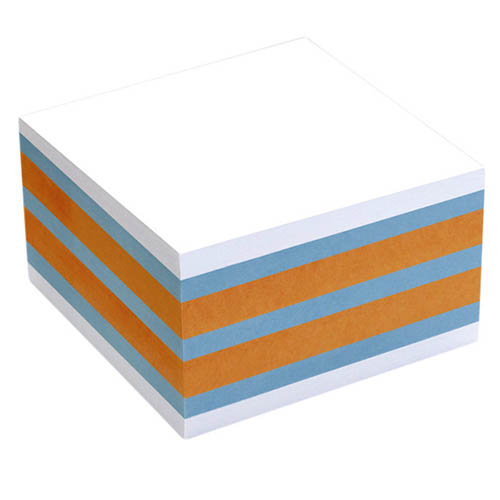 memoblok Info Notes 75x75mm 450vel blauw/ oranje/ wit